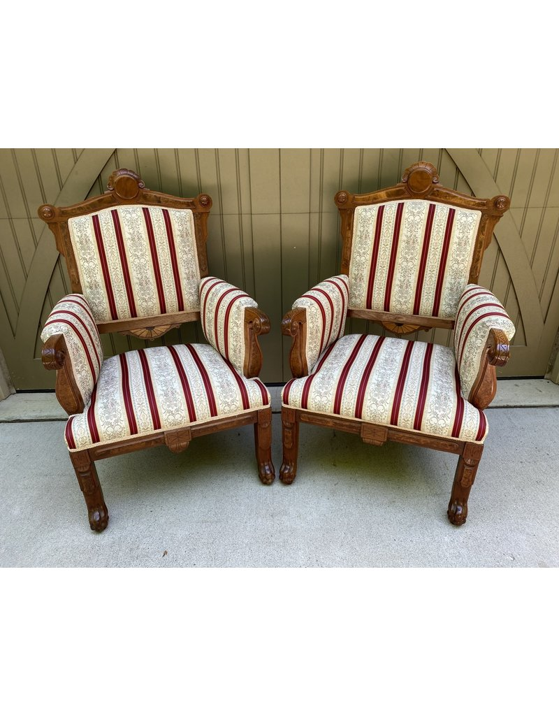 Pair of Victorian Walnut Parlor Chairs w/ Striped Fabric