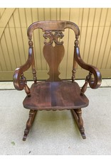 Solid Mahogany Carved Rocker w/ Arms