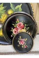 Lot of Black Painted Tole Trays