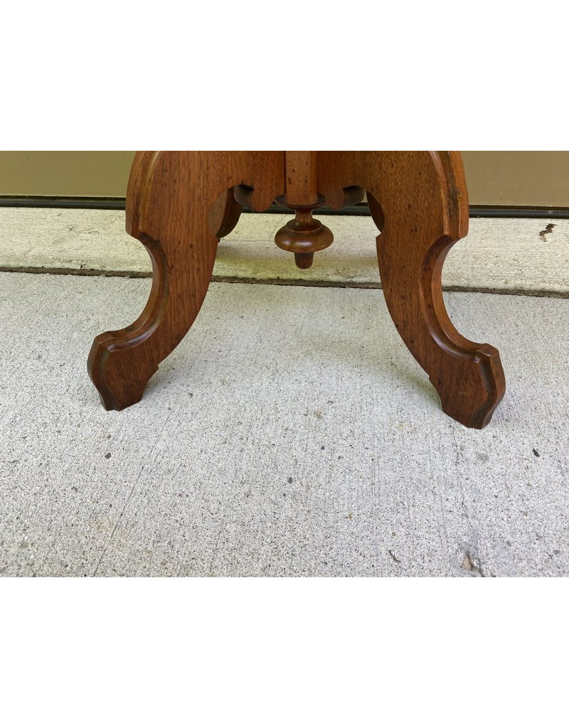 Victorian Walnut Parlor Table  w/ White Marble Top