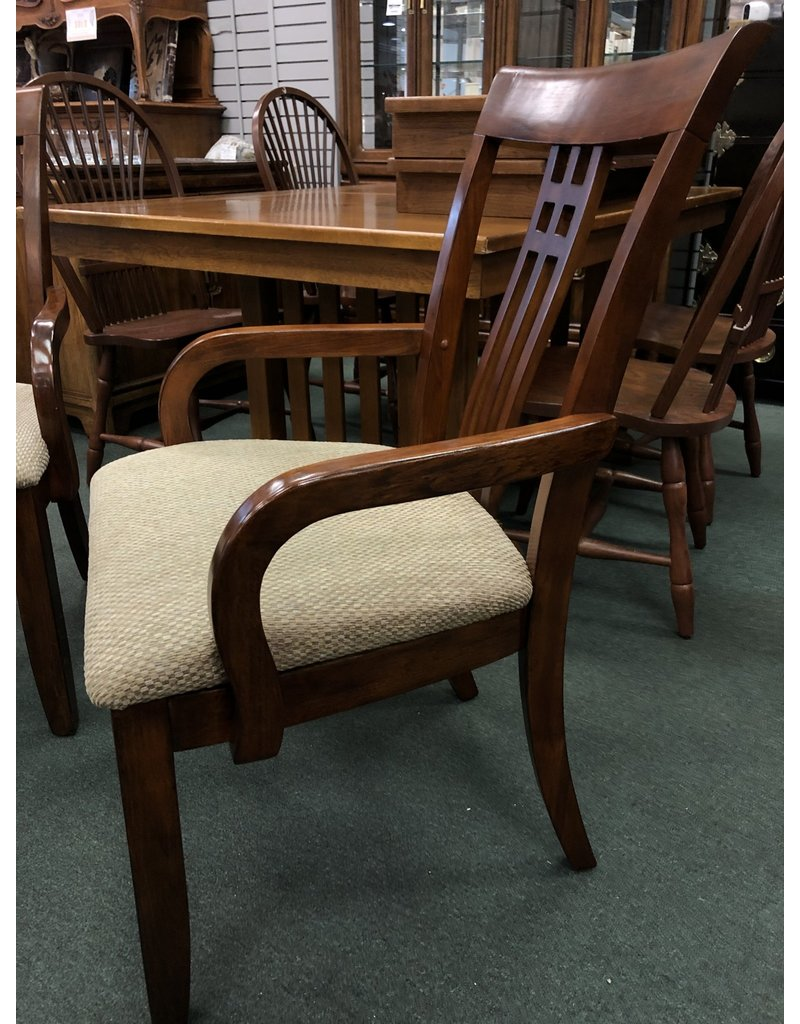 Pair of Upholstered Mission Style Oak Chairs w/ Blue/Brown Fabric