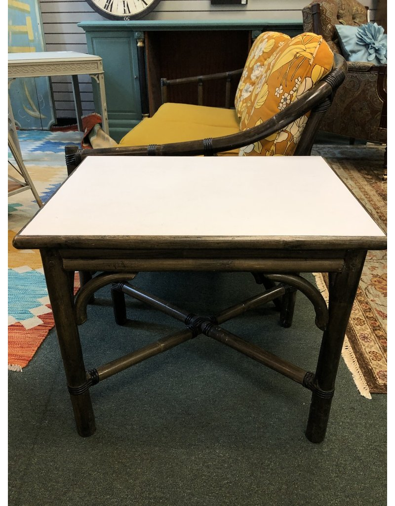 Retro Black & White Bamboo Style Side Table