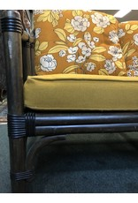 Retro Black Bamboo Style Sofa w/ Floral Fabric