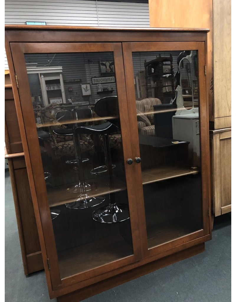 Wood Bookcase w/ Glass Doors