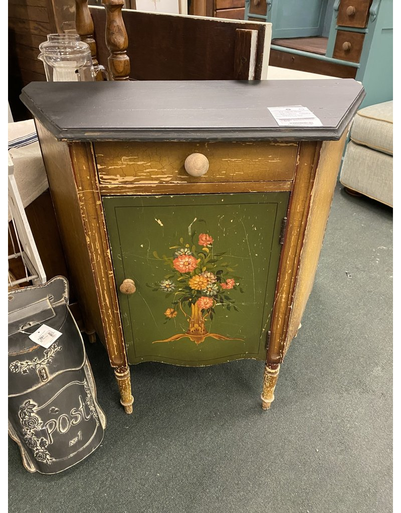 Antique Small Cabinet w/ Hand Painted Floral Motif