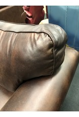 Brown Leather-like Rolled Arm Chair