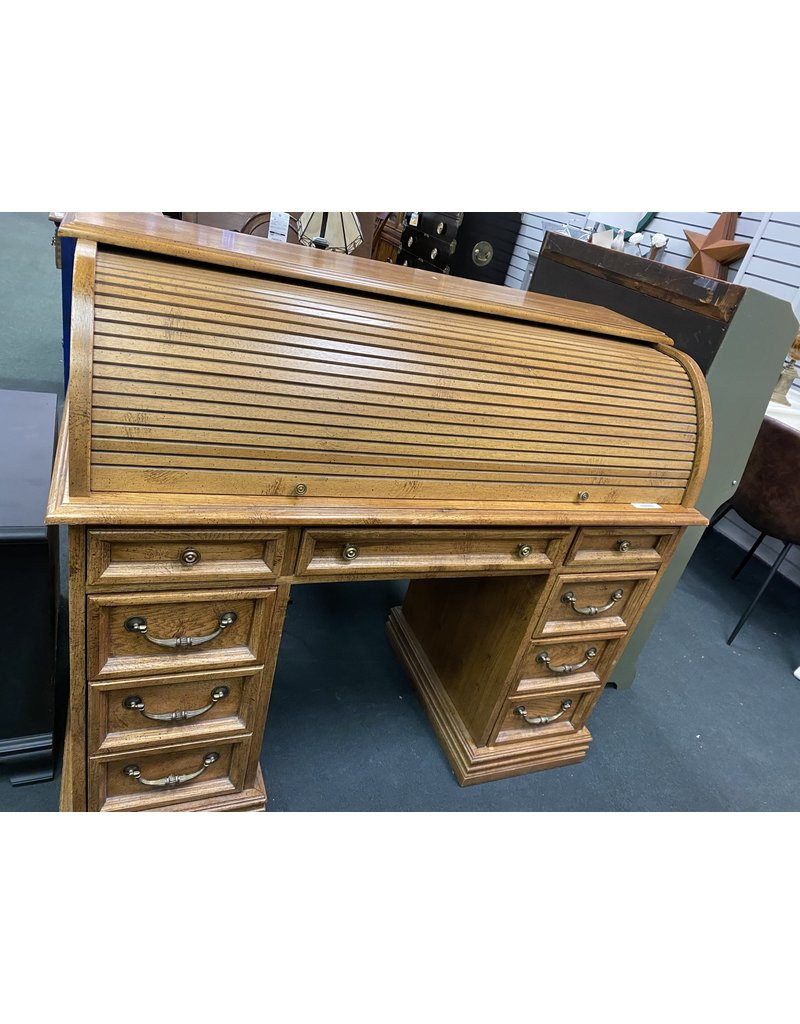 Dark Stained Roll Top Desk