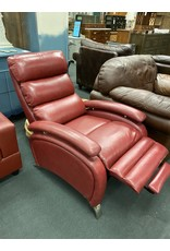 Red Leather Like Recliner w/  Chrome Feet