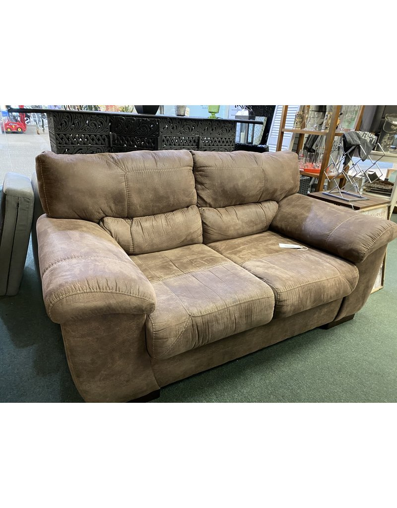Brown Upholstered 2 Cushion Love Seat