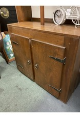 Open Top Dark Pine Hutch w/ Cabinet Door