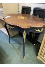 Blue Painted Louis XV Style Secretary Parlor Table w/ Brass Accent