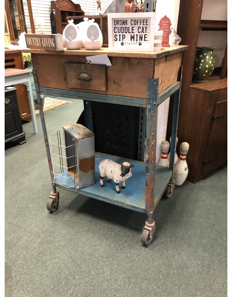 Blue and Wood Industrial Cart