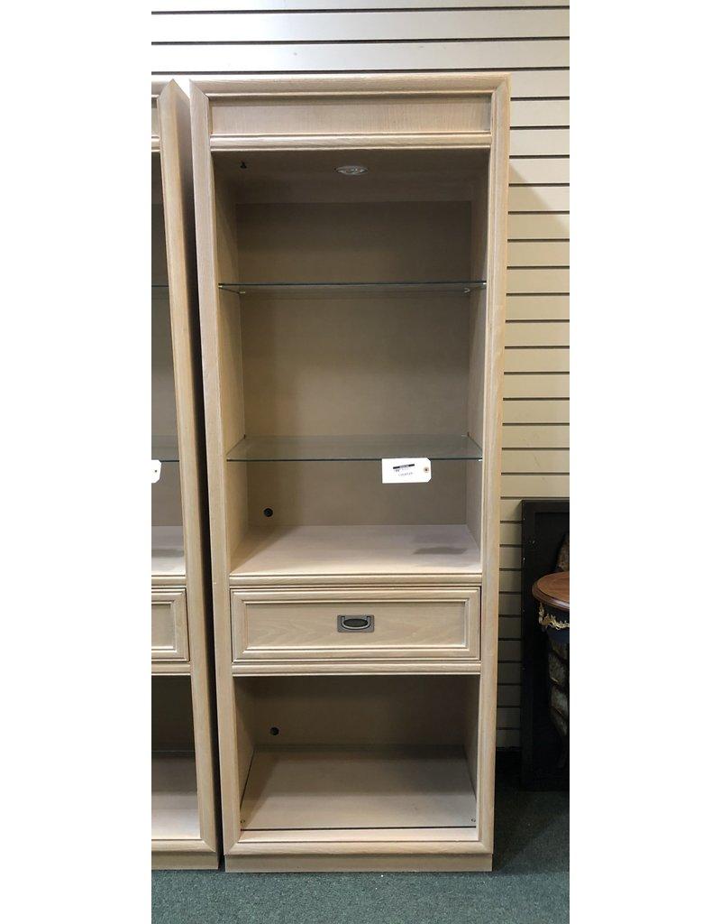 Blonde Oak Bookcase w/ Glass Shelves