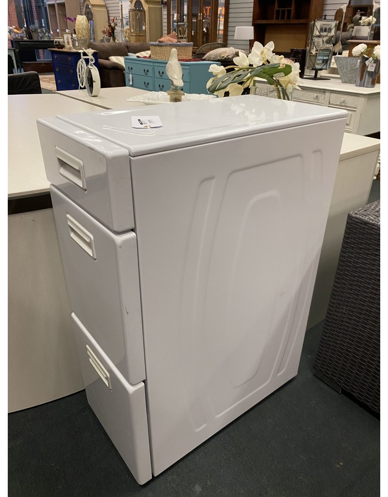 White Metal Laundry 3 Drawer Cabinet