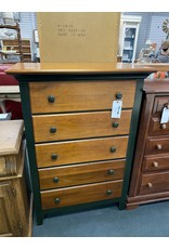Dark Wood and Green 5 Drawer Chest