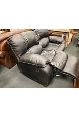 Black Reclining Leather-like Sofa (as is)