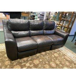 Dark Genuine Leather Reclining Sofa