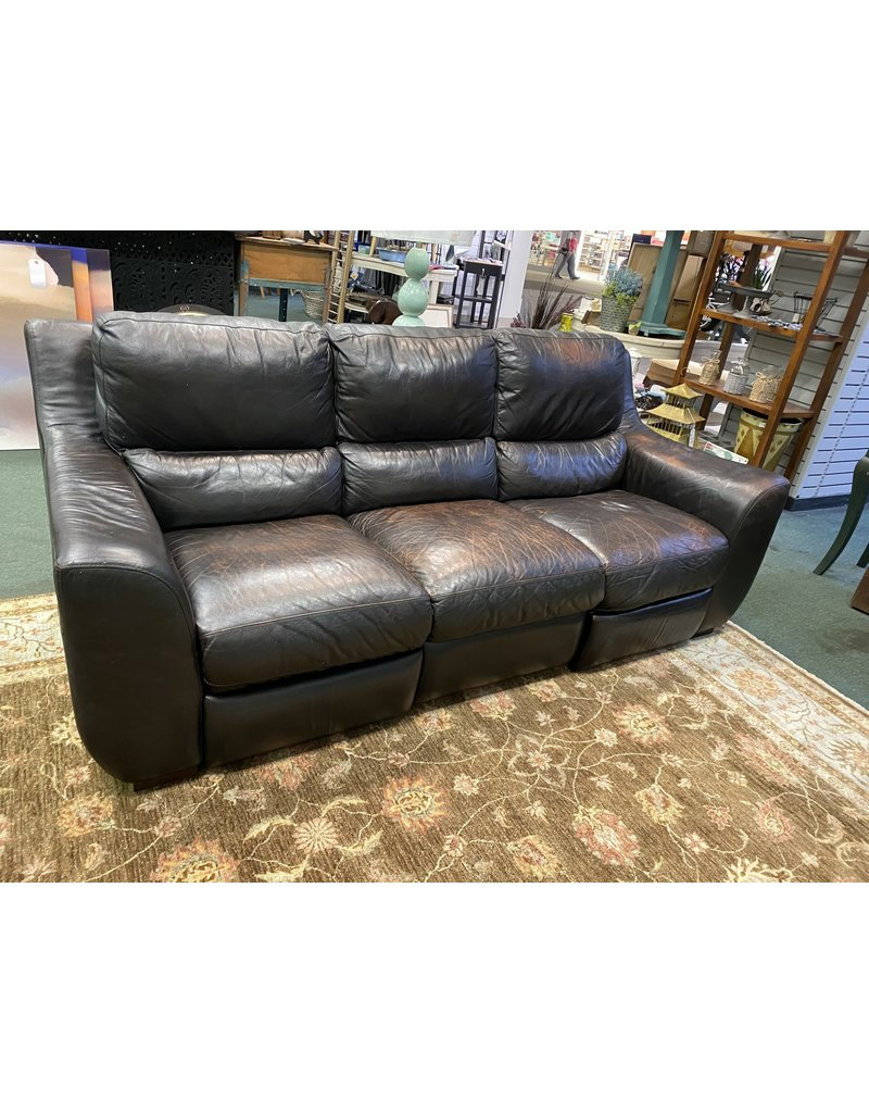Dark Genuine Leather Reclining Sofa
