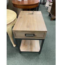 Gray Driftwood Media Side Table