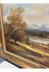 Farm Scene Oil Painting in Gold Frame