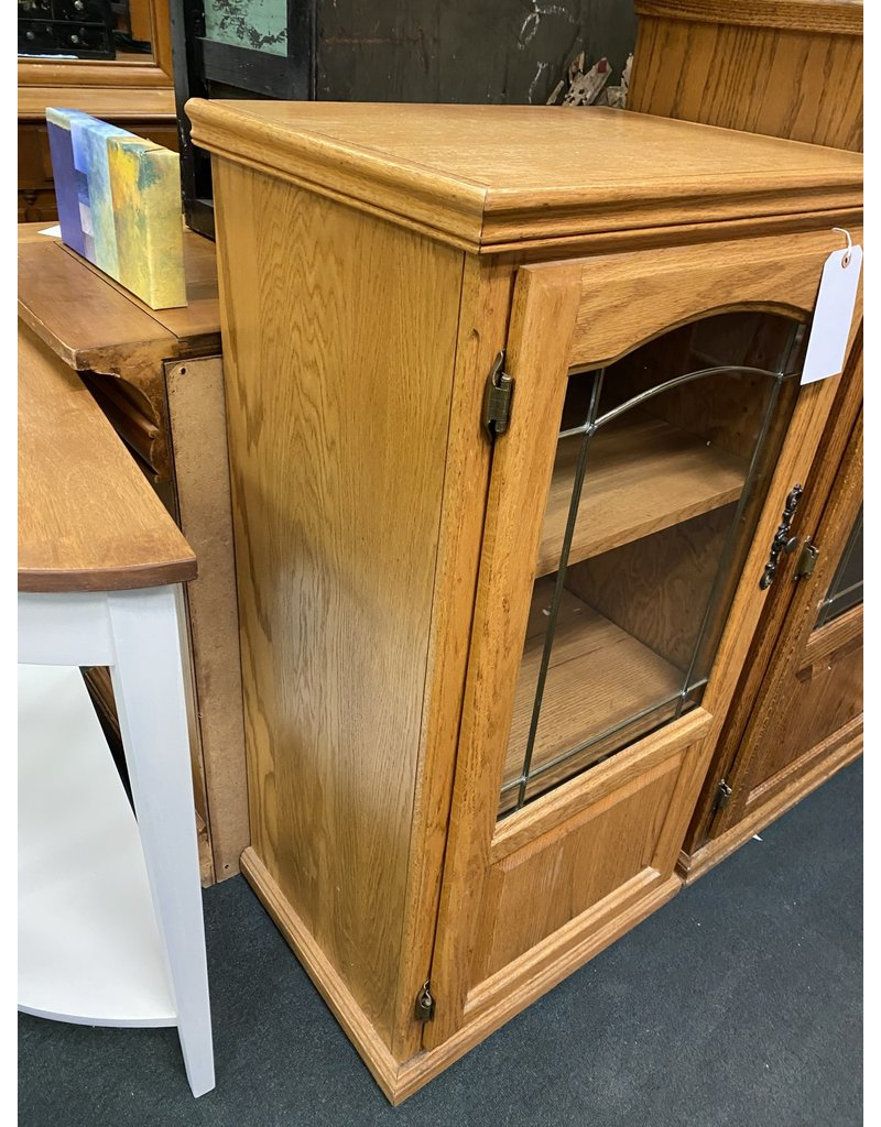 Oak Media Cabinet w/ Glass Door
