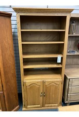 Oak Bookshelf w/ Cabinet Bottom