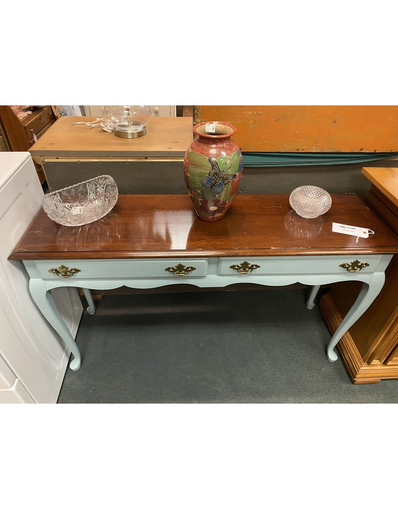 Two Tone Teal Sofa Table w/ Drawers