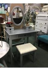 RH Small Silver Vanity w Stool