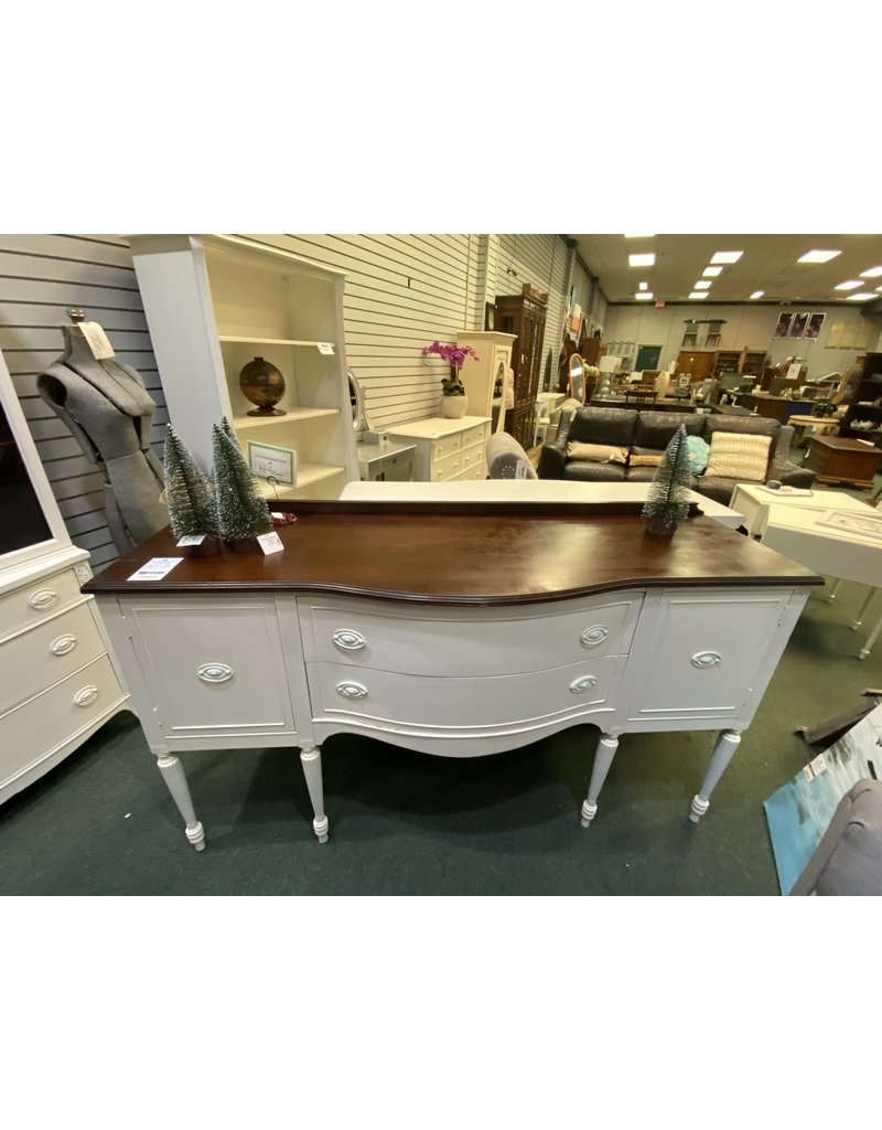 Federal Style White Buffet w/ Wood Top