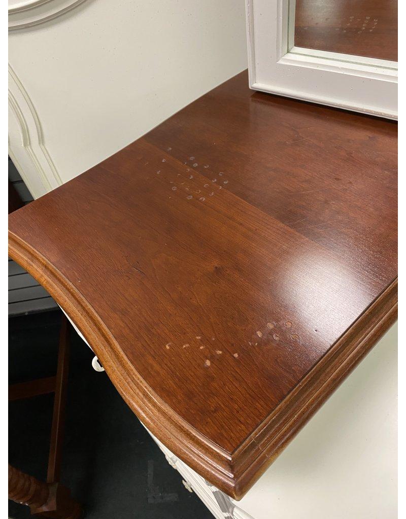 White and Wood Dresser w/ Tri Mirror