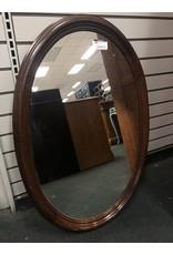 Dark Wood Oval Mirror