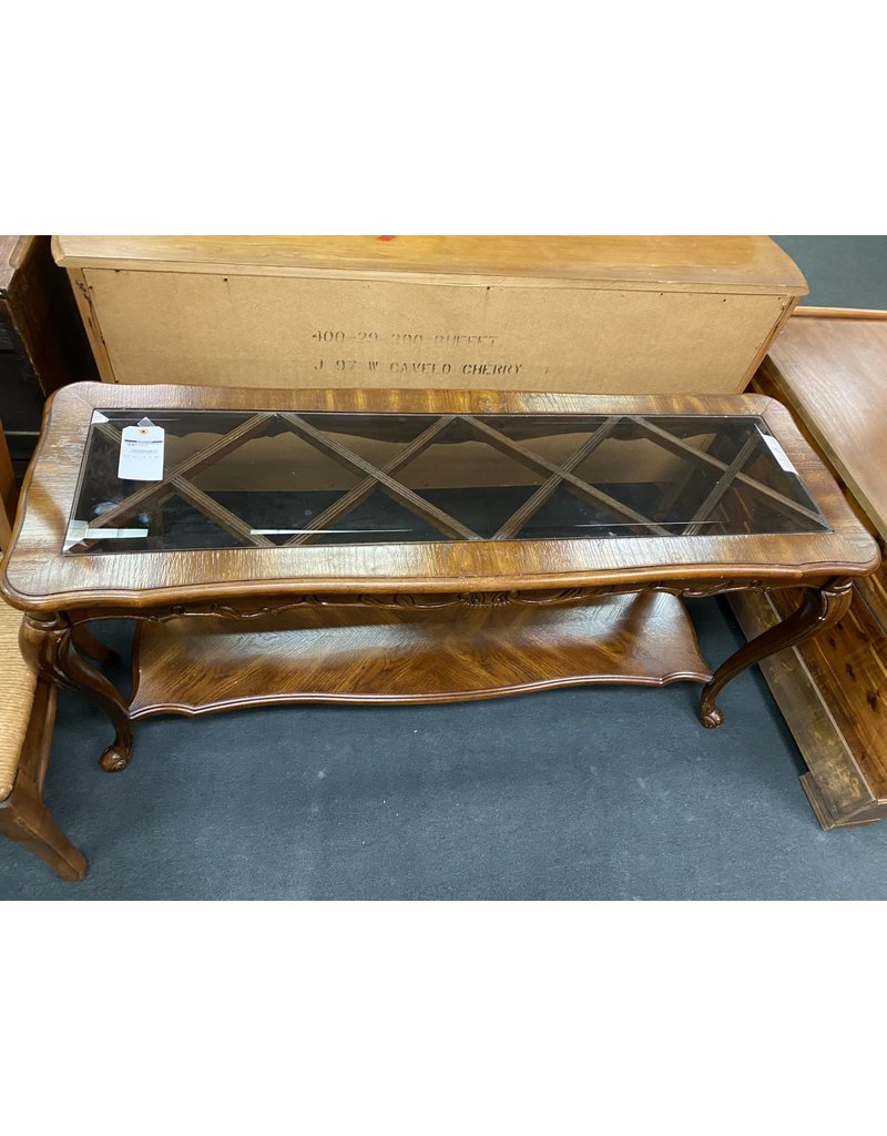 French Style Sofa Table w/ Glass Top
