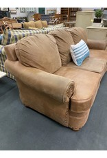 Brown 3 Cushion Sofa w/ Nail Head Trim