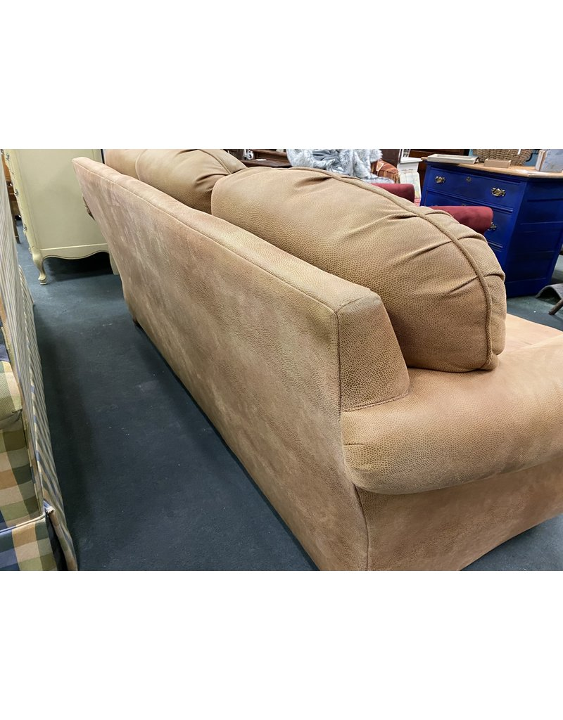 Brown 3 Cushion Sofa w/ Nail Head Trim