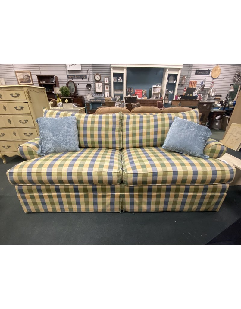 Green and Blue Plaid 3 Cushion Couch