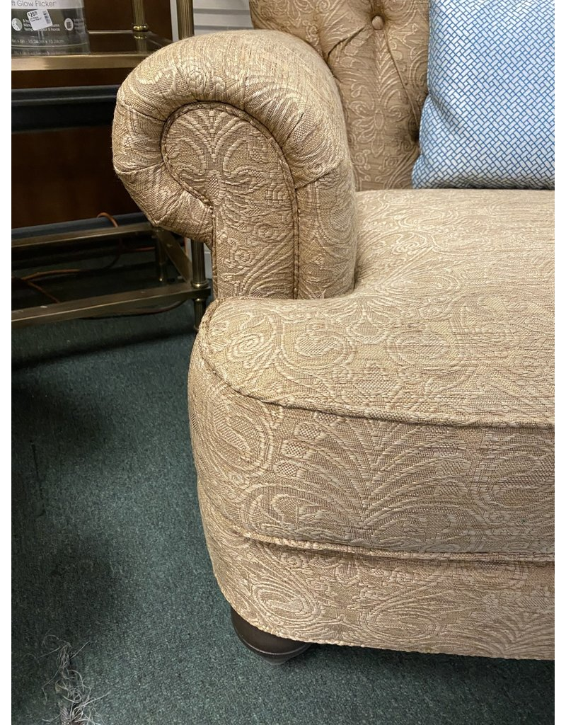 Gold Damask Rolled Arm Chair