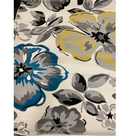 Regner Floral Cream/Gray/Blue Area Rug