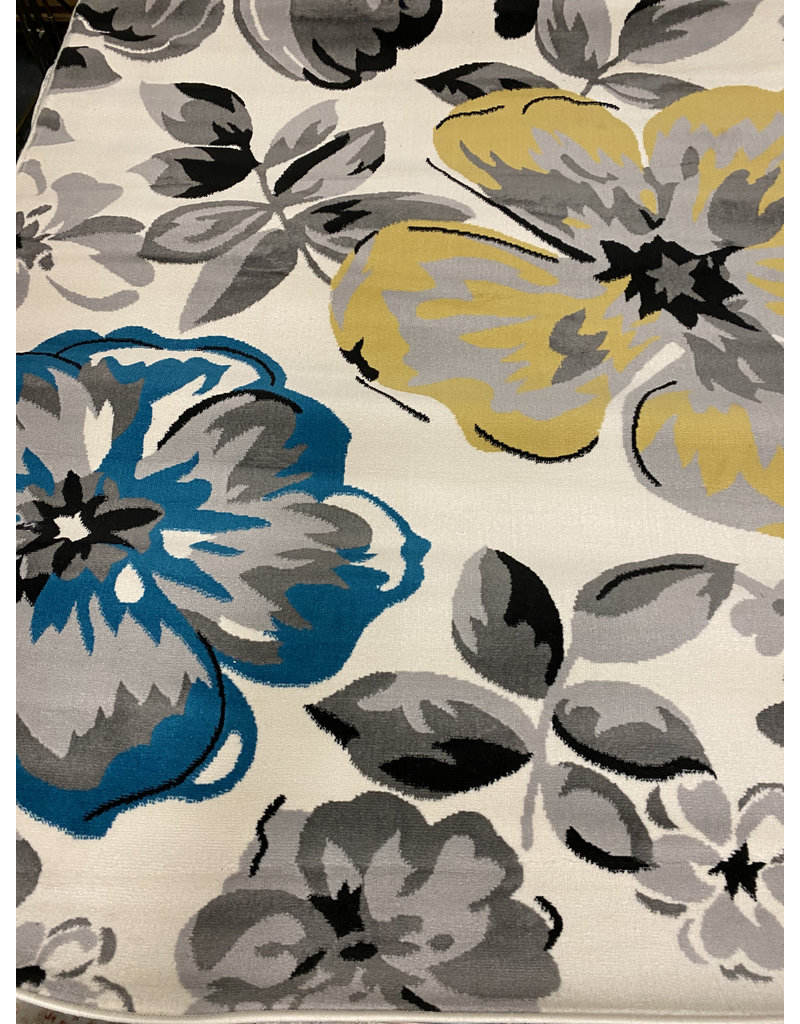 Regner Floral Cream/Gray/Blue Area Rug