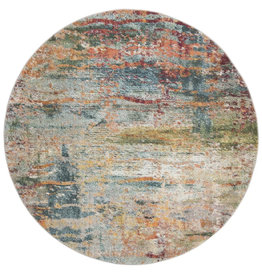 Muhan Abstract Teal/Orange Area Rug