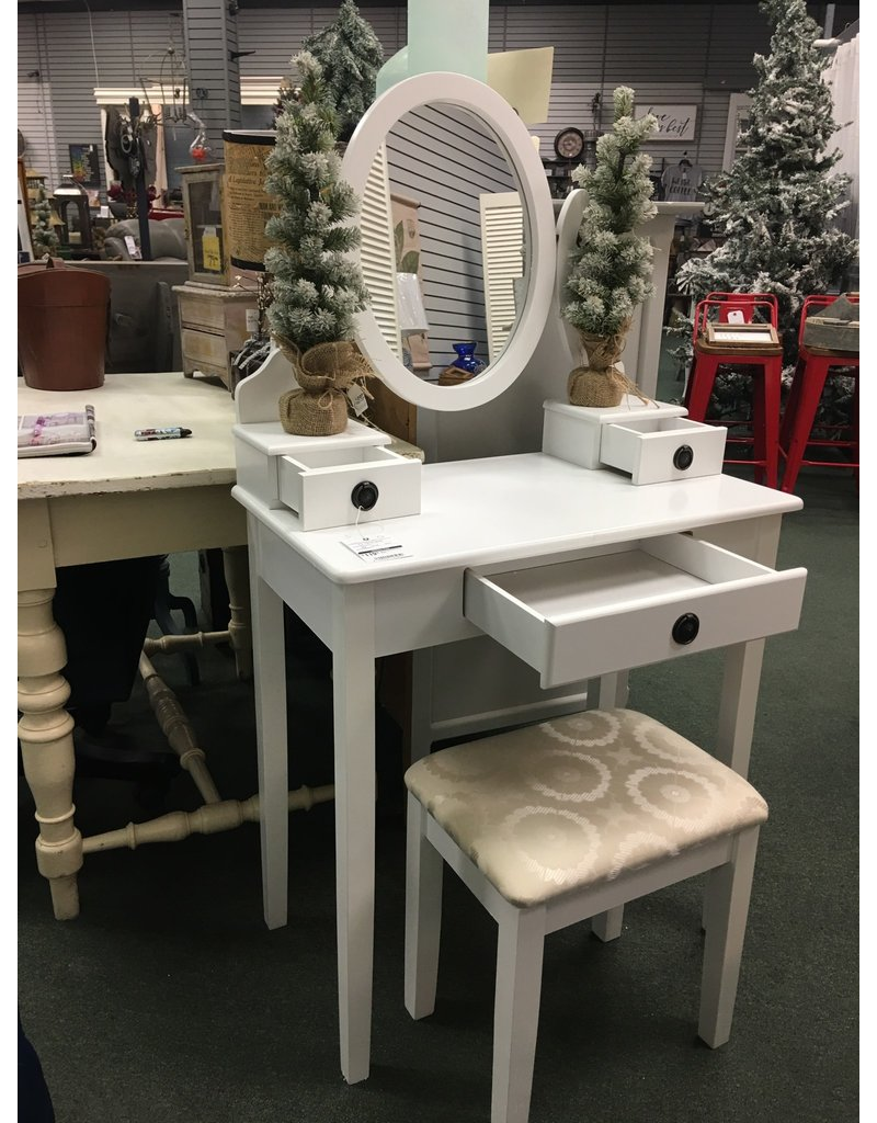 RH Small White Vanity w Stool