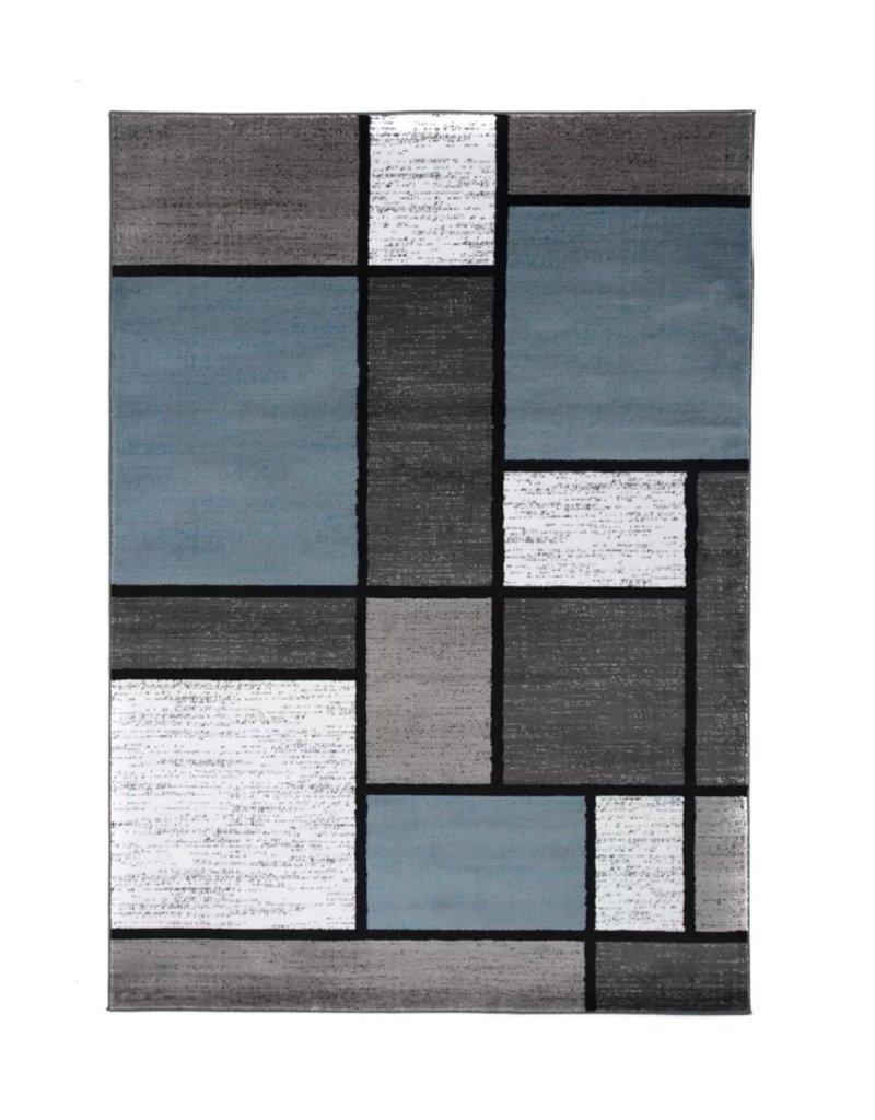 Barroso Geometric Blue/Gray/White Area Rug