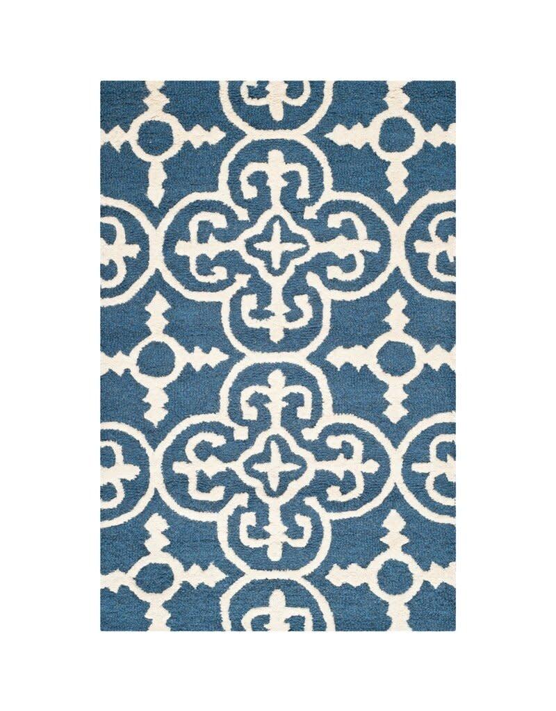 Byron Geometric Handmade Tufted Navy Blue/Ivory Wool Area Rug
