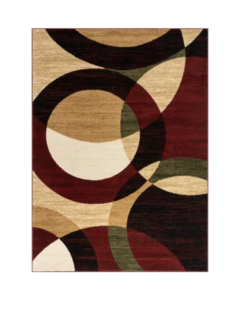 Chelsi Geometric Red/Beige Area Rug