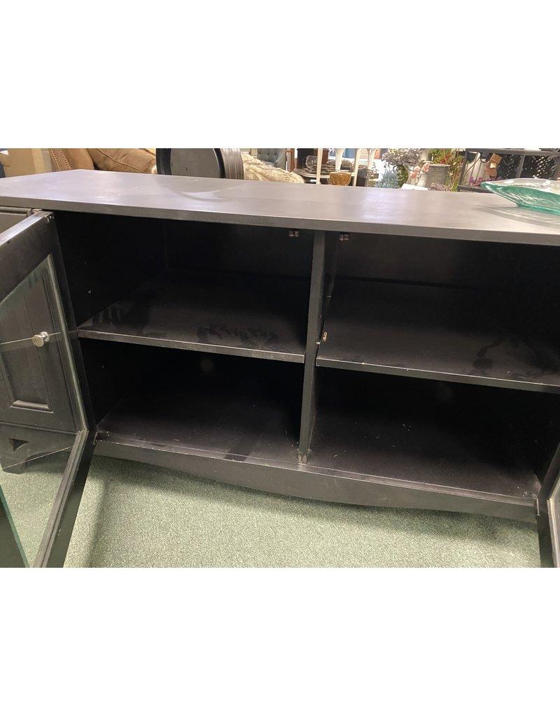 Black Long TV Stand w/ Glass Door