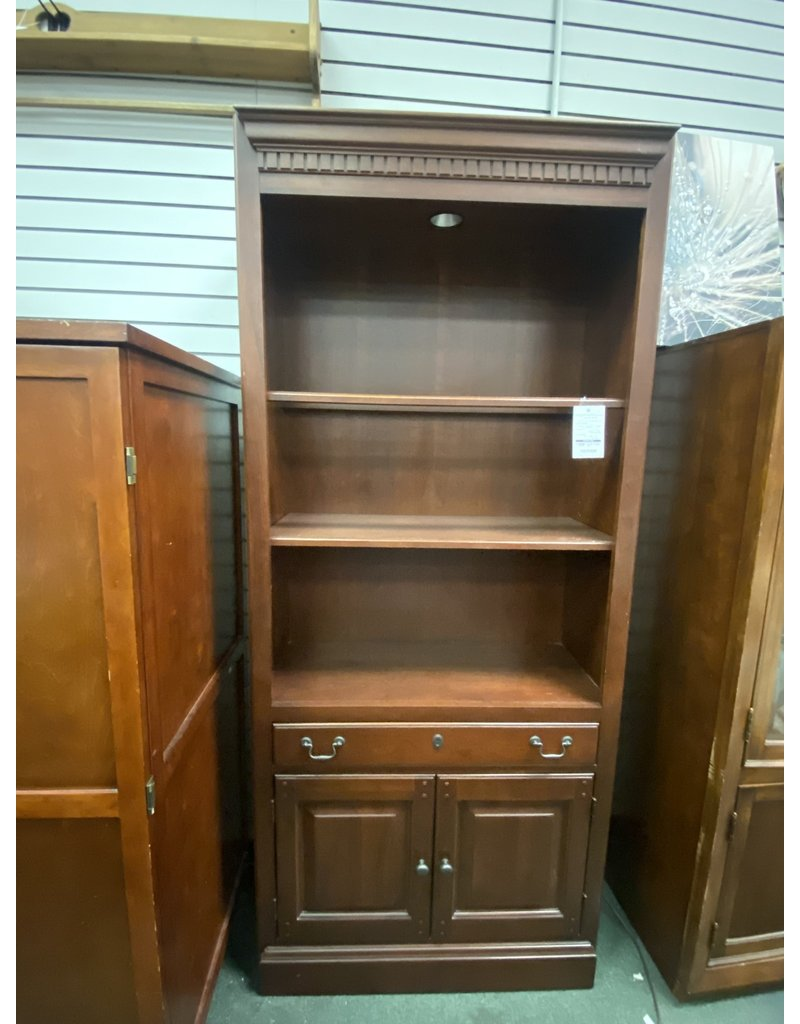 Dark Wood Bookcase w/ Drawer and Cabinet Door