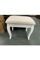 White Upholstered Vanity Stool