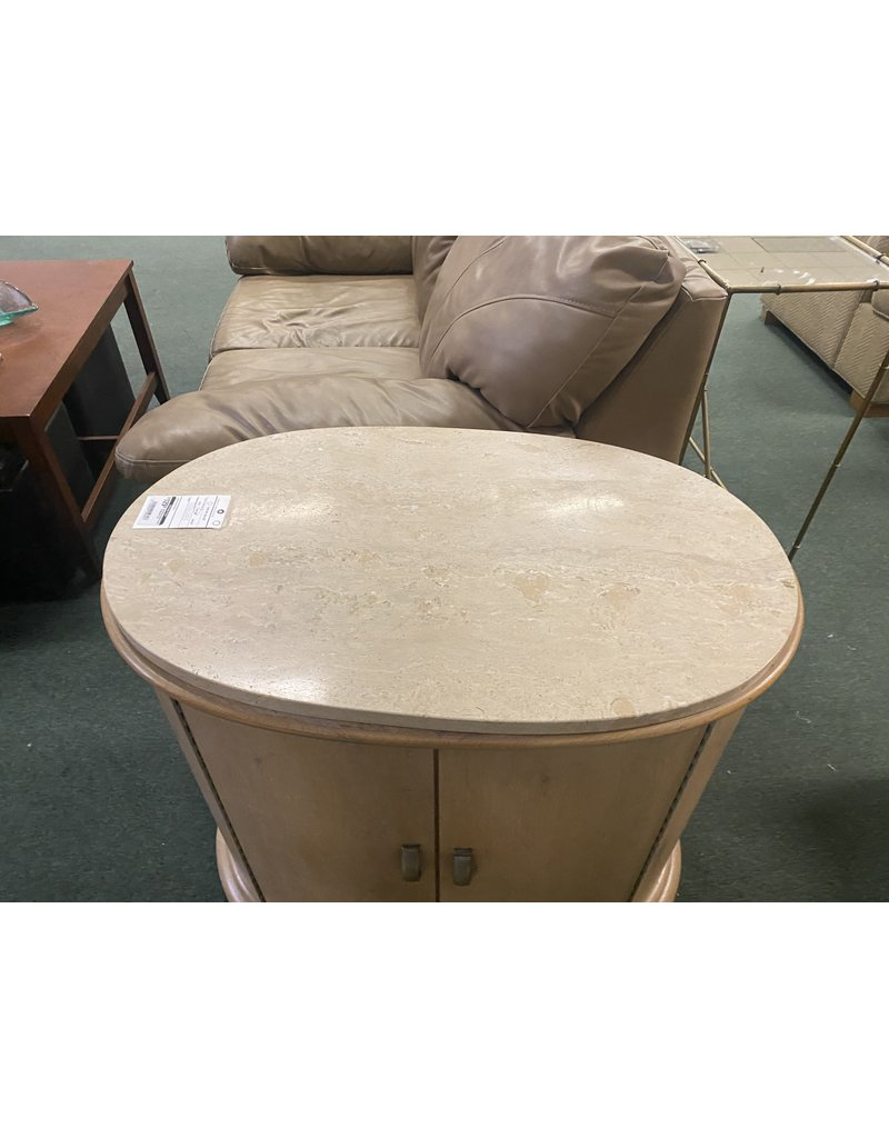 Oval Blonde Side Table w/ Marble Top