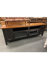 Long Black and Wood TV Stand