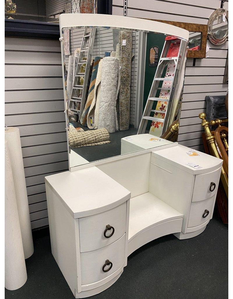 White Painted Mid Century Vanity w/ 5 Drawers
