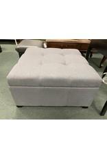 Gray Upholstered Storage Ottoman